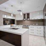 2 tone modern white brown kitchen