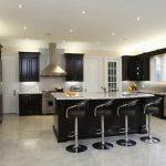 dark espresso white gray kitchen